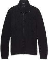 HUGO BOSS Naik Slim-fit Virgin Wool, Silk And Cashmere-blend Zip-up Sweater - Black