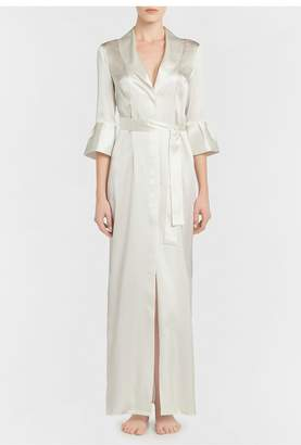 La Perla Exotique Off-White Long Silk Belted Robe