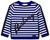 Burberry Blue Stripe Applique and Branded Jumper