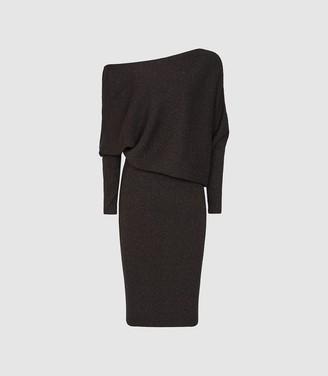 Reiss Vera - Off-the-shoulder Metallic Bodycon Dress in Chocolate