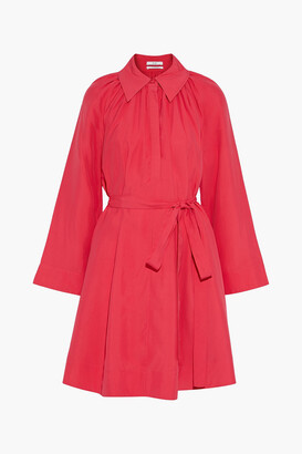 Co Belted Gathered Woven Shirt Dress