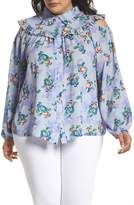 LOST INK Peach Print Blouse