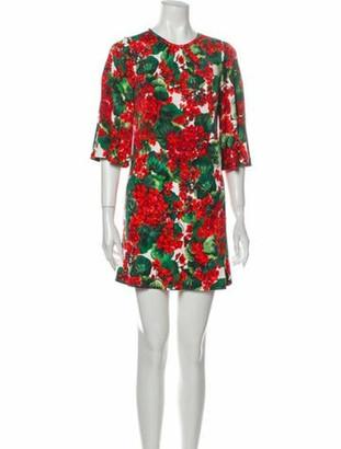 Dolce & Gabbana Floral Print Mini Dress Green