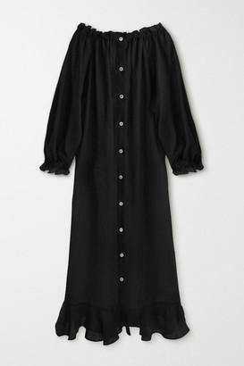Sleeper Caviar Ruffled Silk Midi Dress - Black