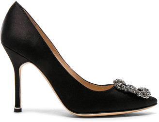 Manolo Blahnik Hangisi 105 Satin Pumps in Black Satin | FWRD