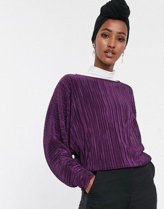 Asos DESIGN plisse top with batwing sleeve in purple