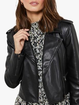 Mint Velvet Zipped Leather Biker Jacket, Black