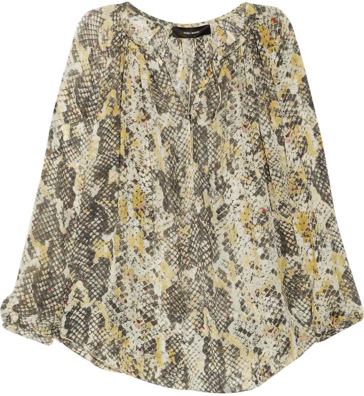 Isabel Marant Mara printed silk-georgette top