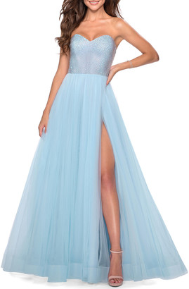La Femme Beaded-Bodice Strapless A-Line Tulle Gown
