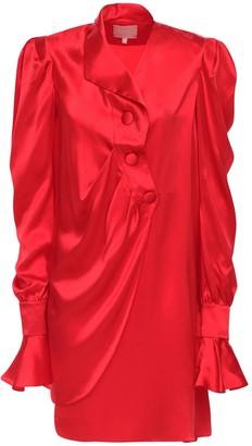 Liya Draped Silk Satin Mini Dress
