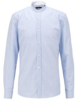 HUGO BOSS Slim Fit Evening Shirt In Striped Cotton Linen - Light Blue