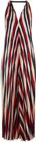 Tome Red Satin Stripe Pleated Halter Dress