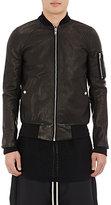 Rick Owens Men's Leather Bomber Jacket-BLACK