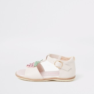 River Island Mini girls Pink strawberry sandals