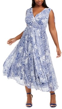 Taylor Plus Size Floral-Print A-Line Dress