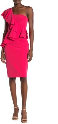 Trina Turk Waterfall One-Shoulder Ruffle Dress
