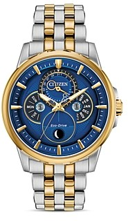 Citizen Calendrier Moonphase Two-Tone Link Bracelet Watch, 44mm