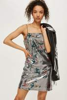 Topshop Mirrored flower sequin slip dress