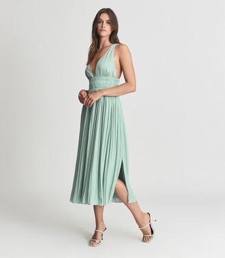 Reiss Saffy - Plunge Neckline Midi Dress in Seafoam