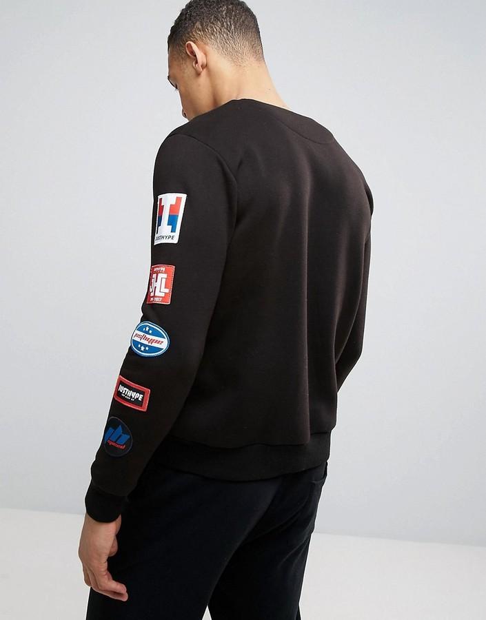Hype Sweatshirt In Black With Sleeve Badges