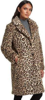 Gallery Faux Fur Leopard Walker Coat