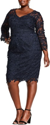 City Chic Three-Quarter Sleeve Cocktail Dress