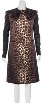 Thomas Wylde Leather Leopard Print Coat
