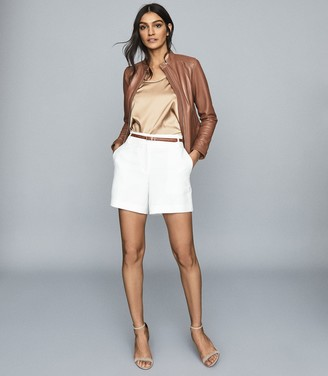 Reiss FAWN COLLARLESS LEATHER BIKER JACKET Tan