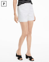 White House Black Market Petite 5-inch White Chevron Shorts