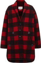 Etoile Isabel Marant Black & Red Check Gino Blanket Coat