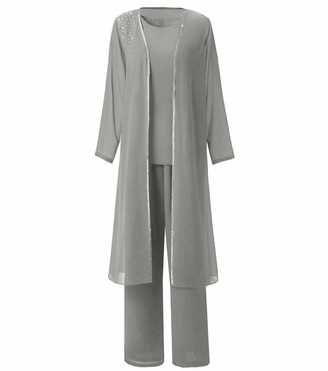 Pretygirl Women's 3 Pieces Formal Chiffon Mother of Bride Dress Pant Suits Long-Sleeve with Jacket for Wedding(US 14