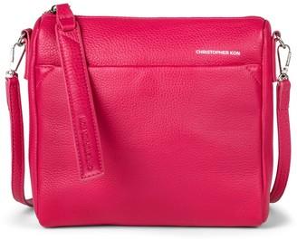 Christopher Kon Top Zip Leather Crossbody Bag