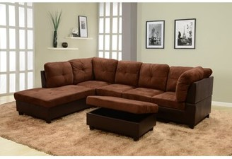"Andover Mills Russ 103.5"" Sectional with Ottoman Fabric: Dark Brown, Orientation: Left Hand Facing"