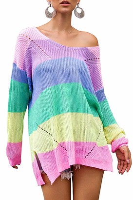 Imaxcite Oversized Pullover Sweater for Women Casual Loose Striped Blouse Sexy V-Neck Long Sleeve Off Shoulder Jumpers Tops (Pink X-Large)