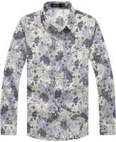 SSLR Men's Paisley Printed Long Sleeve Shirt (, Yellow Purple)