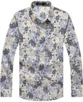 SSLR Men's Paisley Printed Long Sleeve Shirt