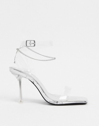 Public Desire April heeled sandal with anklet in silver