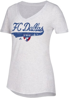 adidas Women's White FC Dallas Tail Stack V-Neck T-Shirt