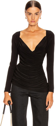 Norma Kamali Long Sleeve Sweetheart Side Drape Top in Black | FWRD