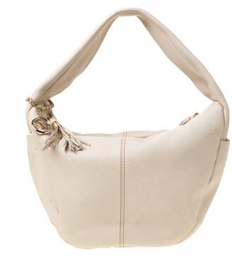 Lancel Light Cream Leather Tassel Hobo