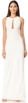 Halston Round Neck Gown with Twisted Front