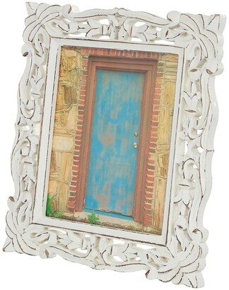 """Willow Row Rectangular Carved Wood Antique Picture Frame with Whitewash Finish - 9""""x 11"""