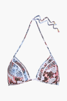 Jets Poetic Crochet-trimmed Printed Triangle Bikini Top