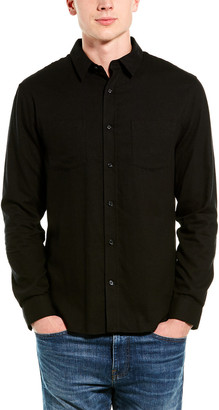 Vince Brushed Twill Classic Fit Wool-Blend Woven Shirt