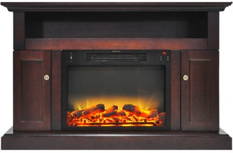 Cambridge Silversmiths CAM5021-2MAHLG2 Sorrento Electric Fireplace with an Enhanced Log Display and 47 In. Entertainment Stand in Mahogany
