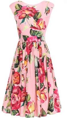 Dolce & Gabbana Flared Gathered Floral-print Cotton-poplin Dress
