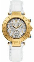 Versace Women's 68C70D498 S001 Reve Chrono Gold/White Leather Watch