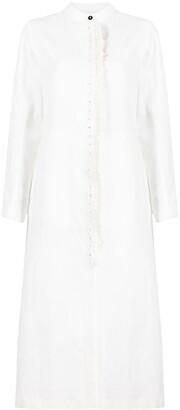 Jil Sander Crochet-Insert Linen Shirtdress