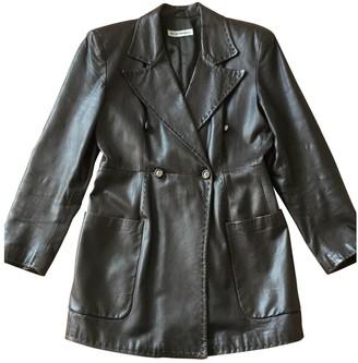 Emporio Armani Brown Leather Coat for Women Vintage