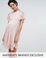 Queen Bee Lace Dress With Ruffle Hem